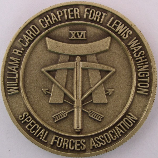 click for larger picture of Fort Lewis Washington Special Forces Association Challenge Coin