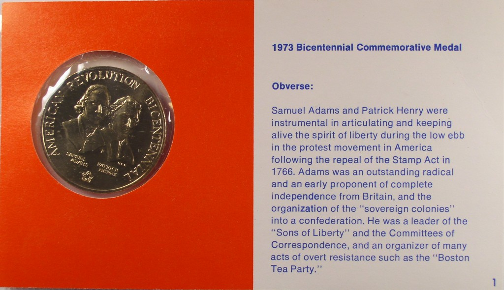click for larger picture of 1973 Boston Tea Party Bicentennial First Day Cover Stamp and Medal