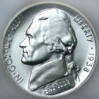click for larger picture of 1938 Jefferson Nickel SEGS Concept Matte Proof
