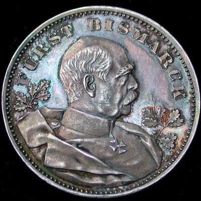 click for larger picture of 1898 Germany Furst Bismark 80th Silver Medal