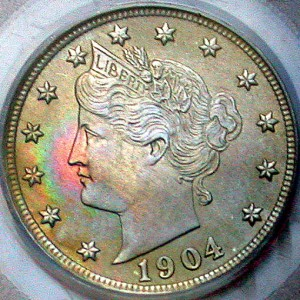 click for larger picture of 1904 Liberty Head Nickel (V Nickel)