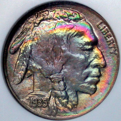 click for larger picture of 1935 S Buffalo Nickel