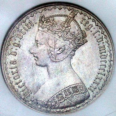 click for larger picture of 1881 Great Britain Florin (one tenth of a pound)