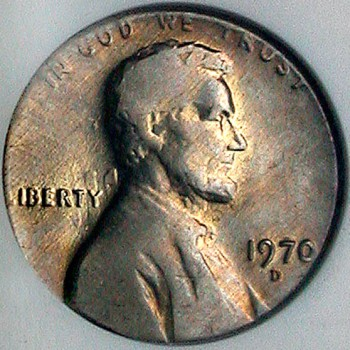 click for larger picture of 1970 D Lincoln cent on a dime planchet Error