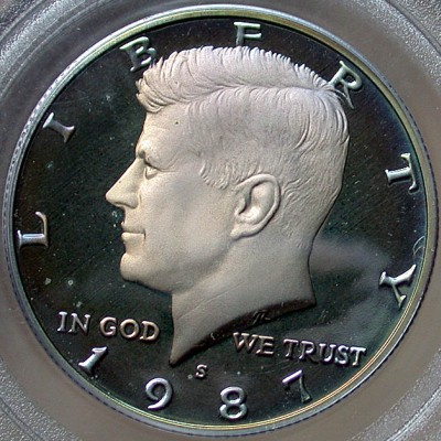 click for larger picture of 1987 S Kennedy Half Dollar DCAM Proof