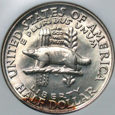 click for larger picture of 1936 Wisconsin Territorial Centennial Commemorative Half Dollar