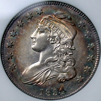 click for larger picture of 1834 Capped Bust Half Dollar
