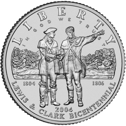 click for larger picture of 2004 P Lewis & Clark Bicentennial Commemorative Silver Dollar UNC