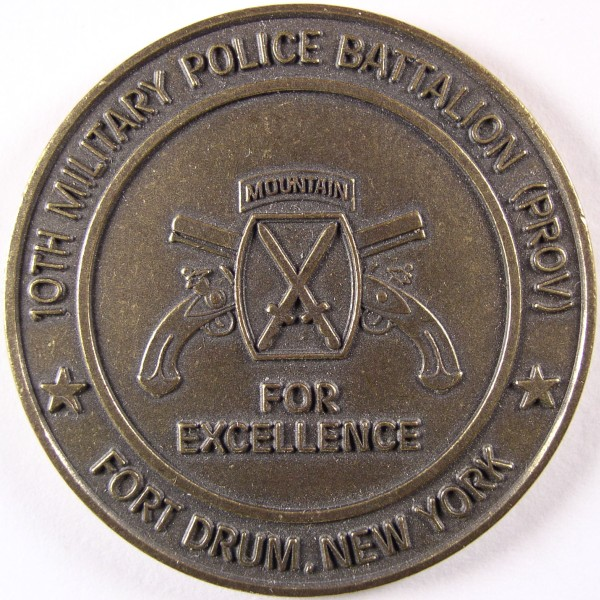 click for larger picture of 10th Military Police Battalion Fort Drum, NY Challenge Coin