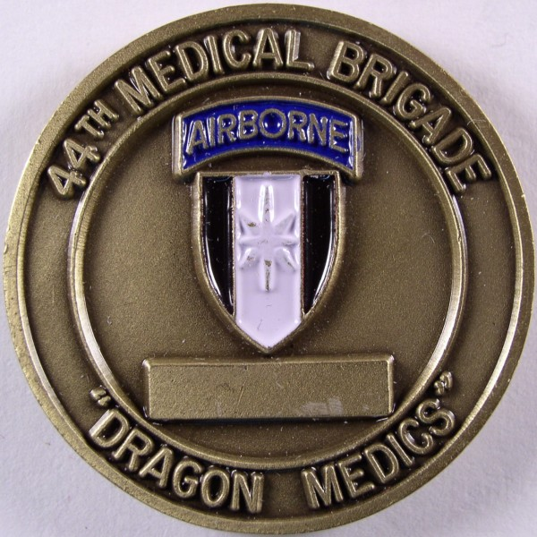 click for larger picture of 44th Medical Brigade Challenge Coin (Dragon Medics)