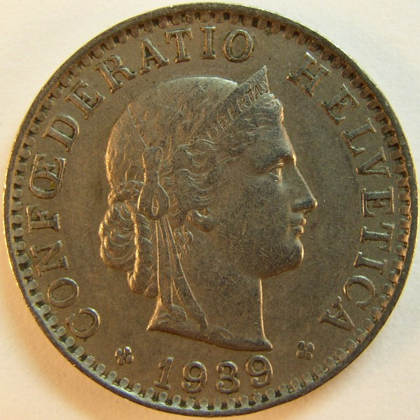click for larger picture of 1939 B Switzerland 20 Rappen
