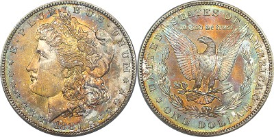 click for larger picture of 1878 S Morgan Dollar Toned