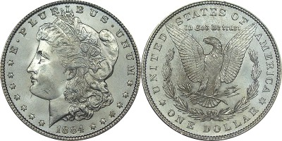 click for larger picture of 1884 Morgan Dollar