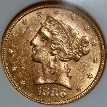 click for larger picture of 1886 S $5 Gold Liberty Half Eagle
