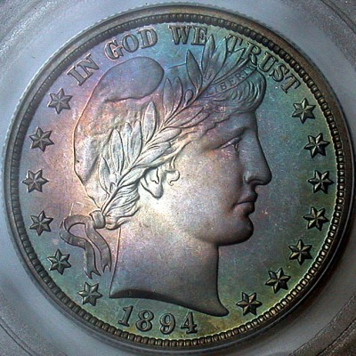 click for larger picture of 1894 Barber Quarter Dollar Proof
