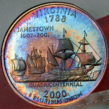 click for larger picture of 2000 S Virginia State Quarter Dollar Proof