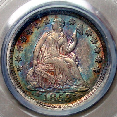 click for larger picture of 1853 O Half Dime (arrows at date)