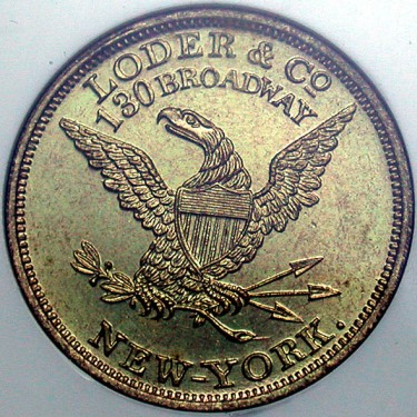 click for larger picture of 1860 Loder and Co., New York  Token