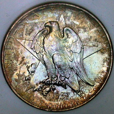 click for larger picture of 1937 Texas Centennial Commemorative Half Dollar