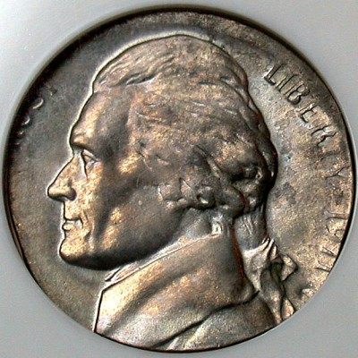 click for larger picture of 1971 D Jefferson nickel on a dime planchet Error