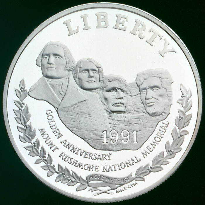 click for larger picture of 1991 S Mount Rushmore Golden Anniversary Commemorative Silver Dollar Proof