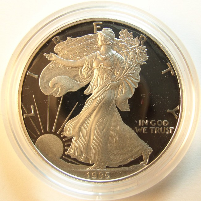 click for larger picture of 1995 P American Silver Eagle Proof
