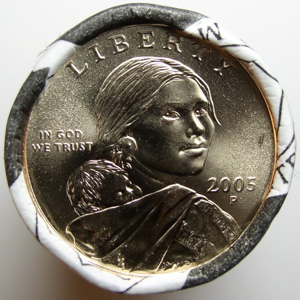 click for larger picture of 2005 P Sacagawea Golden Dollar Roll Unc