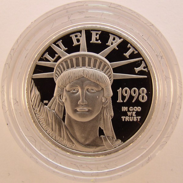 click for larger picture of 1998 W American Platinum Eagle Proof 1/4 ounce $25