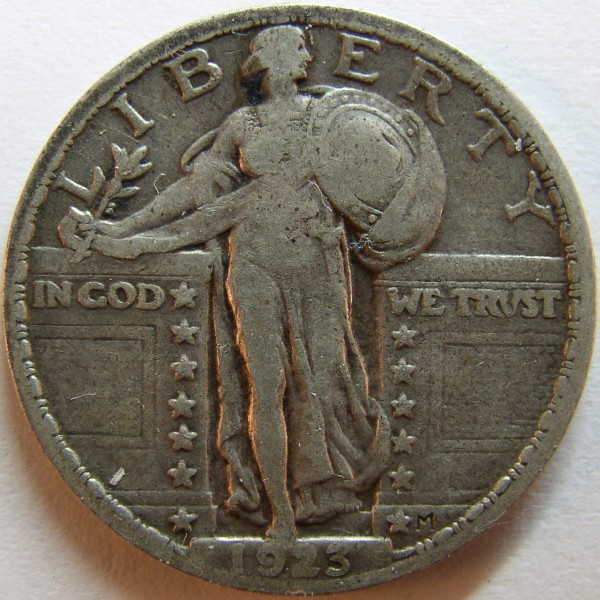 click for larger picture of 1923 Standing Liberty Quarter Dollar