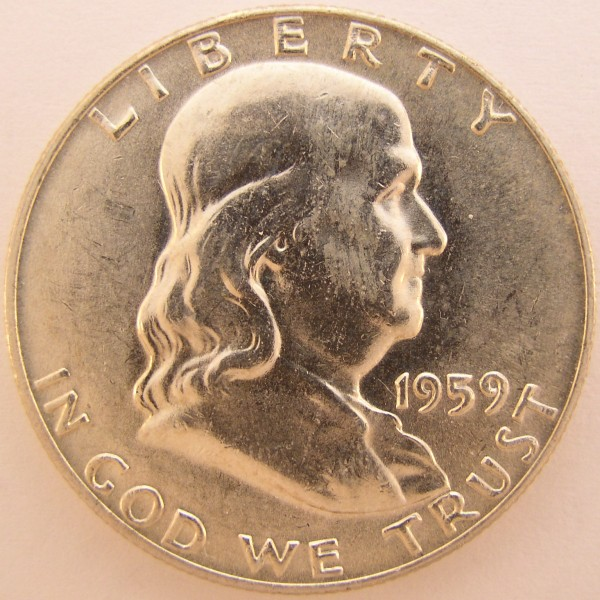 click for larger picture of 1959 Franklin Half Dollar