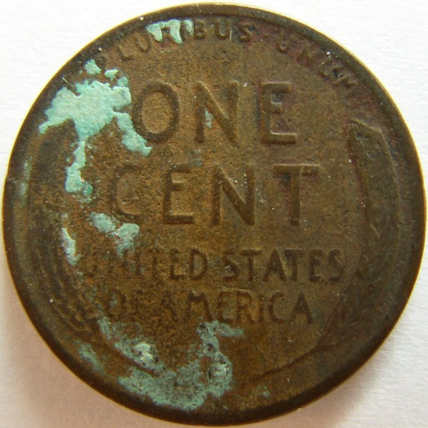 click for larger picture of 1929 D Lincoln Cent with crud