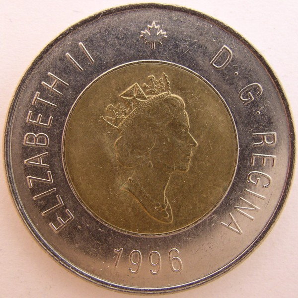 click for larger picture of 1996 Canada Bi-metallic 2 Dollar