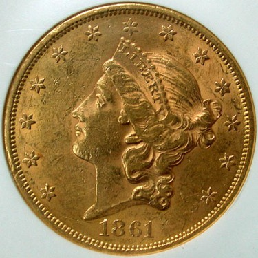 click for larger picture of 1861 $20 Liberty Gold Double Eagle