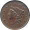 1837 Large Cent BN Coronet Braided Hair