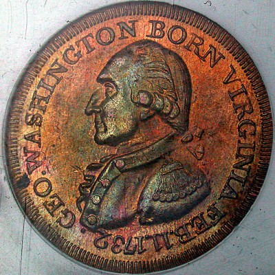 click for larger picture of Uniface restrike of the Washington Born Virginia Token (1792)