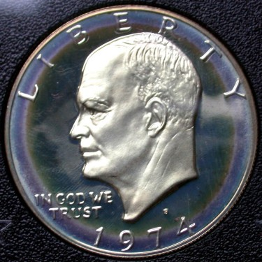 click for larger picture of 1974 S Eisenhower Dollar Silver Clad Ultra Cameo (UCAM) Proof - GSA Case