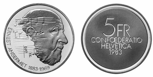 1983 Switzerland 5 Francs 100th Anniversary Birth of Ernest Ansermet
