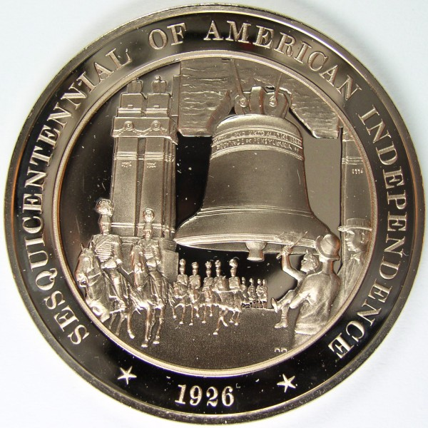 click for larger picture of 1926 Sesquicentennial of American Independence Commemorative Medal