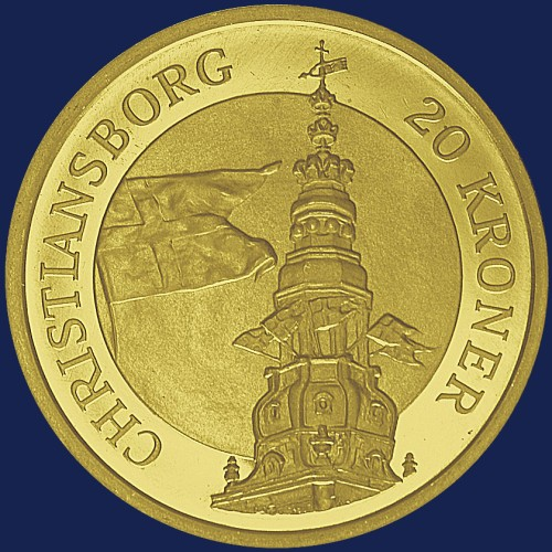click for larger picture of 2003 Denmark 20 Kroner Christiansborg Palace Tower