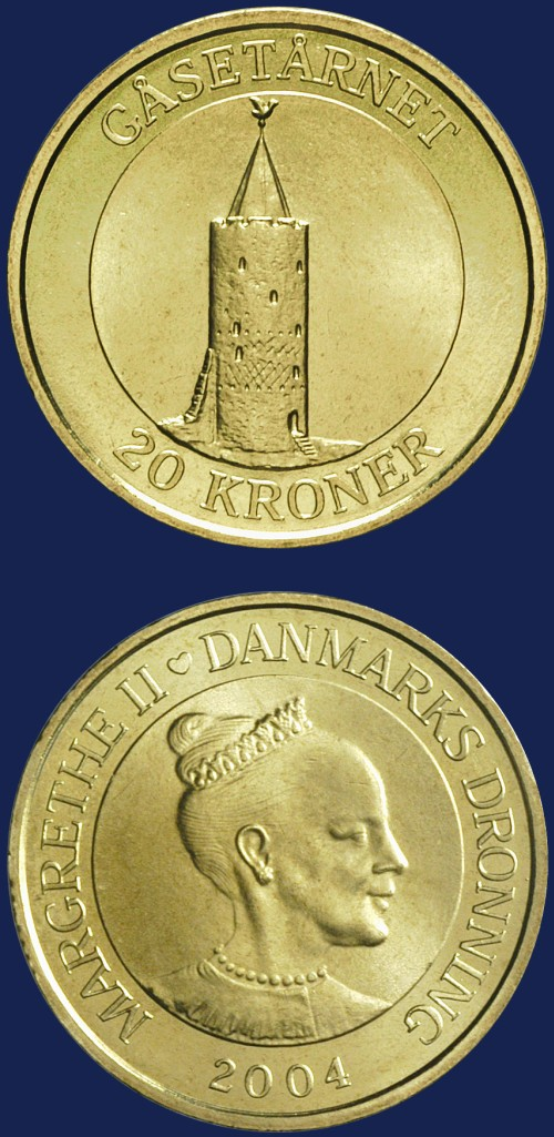click for larger picture of 2004 Denmark 20 Kroner Goose Tower