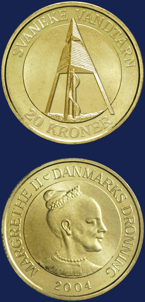 click for larger picture of 2004 Denmark 20 Kroner Svaneke Water Tower