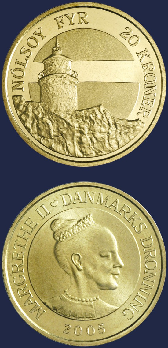 click for larger picture of 2005 Denmark 20 Kroner Nolsoy Lighthouse
