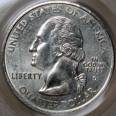 click for larger picture of 2002 D Mississippi State Quarter Dollar Reverse Clad Layer Missing Mint Error
