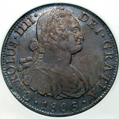 click for larger picture of 1806 Mo TH Mexico 8 Reales  Charles IIII