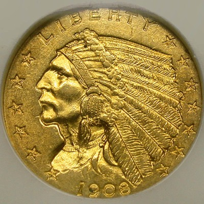 click for larger picture of 1908 Indian Head Gold Quarter Eagle $2.50