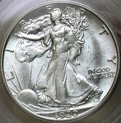 click for larger picture of 1920 S Walking Liberty Half Dollar