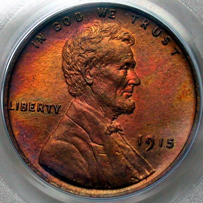 click for larger picture of 1915 Lincoln Cent RB Red Brown