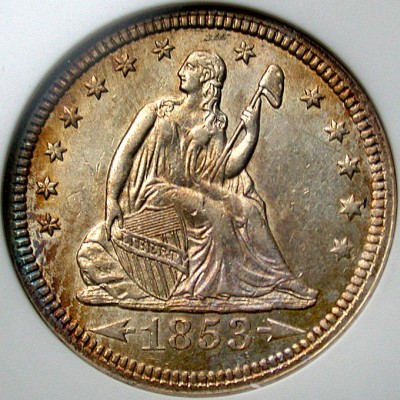 click for larger picture of 1853 Liberty Seated Quarter Dollar (arrows at date, rays on reverse)
