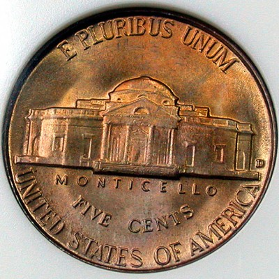 click for larger picture of 1948 D Jefferson Nickel