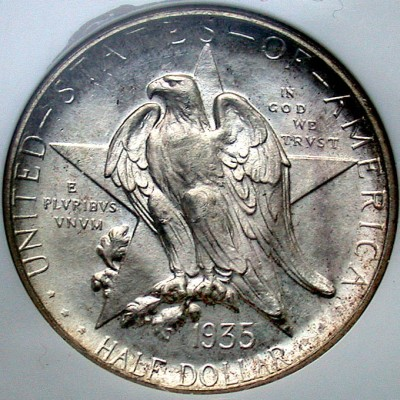 click for larger picture of 1935 D Texas Centennial Commemorative Half Dollar